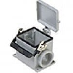 SURFACE MOUNTING BASE - 32P+Ground  16A MAX - 600V  SINGLE LEVER & COVER  DOUBLE PORT  CABLE GLAND PG 29x2 (ILME CHP32LS229)