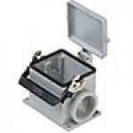 SURFACE MOUNTING BASE - 32P+Ground  16A MAX - 600V  SINGLE LEVER & COVER  DOUBLE PORT  CABLE GLAND PG 36x2 (ILME CHP32LS2)