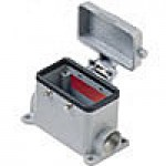 SURFACE MOUNTING BASE - 10P+Ground  16A MAX - 600V  FOUR PEGS & COVER  DOUBLE PORT  CABLE GLAND PG 16x2 (ILME CHP10CS2)
