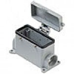 SURFACE MOUNTING BASE - 16P+Ground  16A MAX - 600V  FOUR PEGS & COVER  SINGLE PORT  PG 21 (ILME CHP16CS)