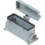 SURFACE MOUNTING BASE - 24P+Ground  16A MAX - 600V  FOUR PEGS & COVER  DOUBLE PORT  PG 21 (ILME CHP24CS2)