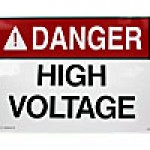 "ACRYLIC ADHESIVE SAFETY SIGN ""DANGER - HIGH VOLTAGE AUTHORIZED PERSONNEL ONLY"" (10""x14"")"