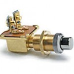 """SPST, NORMALLY ON, 10A@12VDC, 2 BRASS SCREWS, CHROME PLUNGER, MOUNTING STEM: BRASS 5/8""""-32 THREAD, 1"""" LONG, PANEL TO 3/4"""" THICK"""