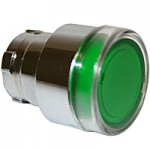FLUSH HEAD, SPRING RETURN, ILLUMINATING ACTUATOR, GREEN