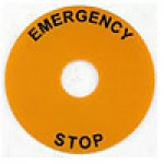 ROUND LEGEND PLATE, 90MM DIAMETER, PLASTIC, EMERGENCY STOP