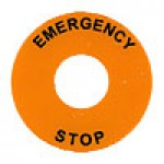 ROUND LEGEND PLATE, 60MM DIAMETER, PLASTIC, EMERGENCY STOP