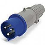 IP44/IEC309 PIN & SLEEVE PLUG 20A  250VAC  2 POLE 3 WIRE  SPLASHPROOF