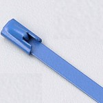 "14"" 316 STAINLESS STEEL CABLE TIE 150LB ROLLER BALL COATED BLUE"