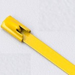 "8"" 316 STAINLESS STEEL CABLE TIE 150LB ROLLER BALL COATED YELLOW"
