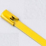 "14"" 316 STAINLESS STEEL CABLE TIE 150LB ROLLER BALL COATED YELLOW"