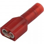 "Red Nylon Fully Insulated Female Disconnect Crimp Terminal 3/16"" (.187) tab"