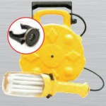 FLUORESCENT, METAL RETRACTABLE REEL, 26W - DOUBLE-BRITE, W/GROUNDED RECEPTACLE, 14/3 SJTW, 50FT