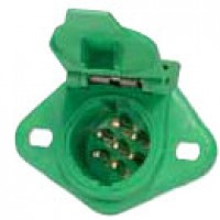 7 POLE TRAILER SOCKET, GLASS-FILLED PLASTIC, GREEN 'TRAILER ABS'