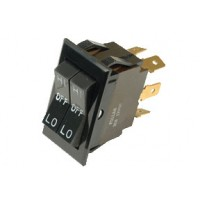 Universal Rocker Switch DPDT with Dual Circuitry High-Low-Off 6 Blade