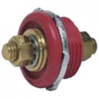 """BATTERY FEEDER STUD, RED, IMPACT RES. PLASTIC, TWO 3/8""""-16 THREAD BRASS STUD TERMINALS, 5/8"""" LONG"""