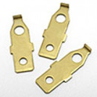 "TERMINAL BLADE ADAPTER - ATTACHES TO NO. 6 SCREW, CONVERTS TO 1/4"" BLADE TERM. (BRASS)"