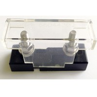 FUSE HOLDER FOR MID AMP SIZE BOLT ON FUSES, CLEAR COVER