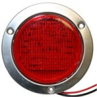 "4"" DIAMETER ROUND, RED, STOP/TURN/TAIL, 56-DIODES, W/S.S. FLANGE & PIGTAIL KIT"