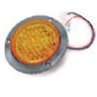 """4"""" DIAMETER ROUND, AMBER, TURN/TAIL, 56-DIODES, W/S.S. FLANGE & PIGTAIL KIT"""