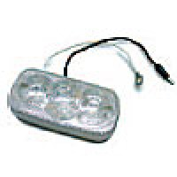 """CLEARANCE/MARKER LAMPS, CLEAR LENS RED SQUARE CORNER, 2"""" X 4"""", 3 DIODES"""