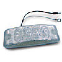 """CLEARANCE/MARKER LAMPS, CLEAR LENS RED RECTANGULAR, 2"""" X 6"""", 4 DIODES"""