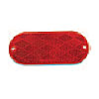 RED OVAL, 1-15/6 X 4-7/16,  2 MOUNTING HOLES, SELF ADHESIVE