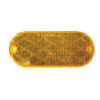 AMBER OVAL, 1-15/6 X 4-7/16,  2 MOUNTING HOLES, SELF ADHESIVE