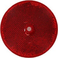 "RED ROUND, 3-3/16"", CENTER HOLE, PLASTIC BACK"