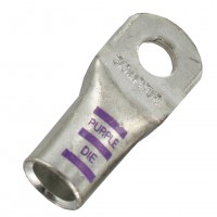 """Extra Heavy Copper Lug for Battery and Welding Cable 3/8"""" 3/0GA Purple Crimping Die"""