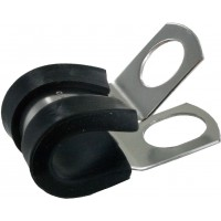 """Bulk Rubber Insulated Steel Clamps 3/8""""ID .404"""" Mounting Hole"""