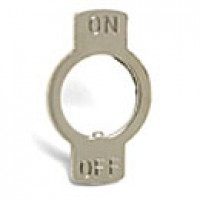 """FACE PLATE - NICKLE PLATED STEEL, FITS STANDARD 15/32"""" DIAM., STAMPED ON, OFF"""