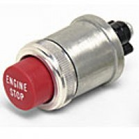"ENGINE STOP, RED,  35A@12V, 2 SCREWS W/LOCKWASHER, MOUNTING STEM 7/8""-24 THREAD, DIECAST HOUSING"