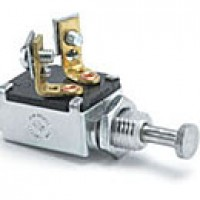 """SPST, NORMALLY ON, 10A@12VDC, 2 SCREWS, MOUNTING STEM: 7/16"""" LONG, 7/16""""-20 THREAD, 1/2"""" BUTTON END PLUNGER"""