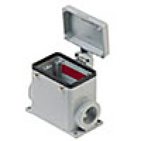 SURFACE MOUNTING BASE - 32P+Ground  10A MAX - 600V  FOUR PEGS AND COVER  DOUBLE PORT  CABLE GLAND PG 29x2 (CHP50CS229)