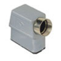 """HOOD - 10P+Ground  10A MAX - 600V  TWO PEGS  SIDE ENTRY  HIGH CONSTRUCTION  CABLE GLAND NPT 1/2"""" (CZAOT15.4L)"""