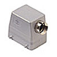 "HOOD - 32P+Ground  10A MAX - 600V  FOUR PEGS  SIDE ENTRY  HIGH CONSTRUCTION  CABLE GLAND NPT 1"" (CAOT50.6)"