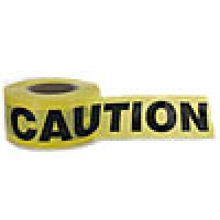 "BARRICADE TAPE 3""x1000' YELLOW, ""CAUTION HAZARD"""