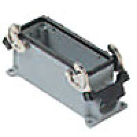 SURFACE MOUNTING BASE - 24P+Ground  16A MAX - 600V  DOUBLE LEVERS  DOUBLE PORT  CABLE GLAND PG 21x2 (ILME CHP24.2)
