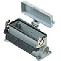 SURFACE MOUNTING BASE - 24P+Ground  16A MAX - 600V  SINGLE LEVER & COVER  SINGLE PORT  CABLE GLAND PG 21 (ILME CHP24LS)