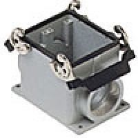 SURFACE MOUNTING BASE - 32P+Ground  16A MAX - 600V  DOUBLE LEVERS  SINGLE PORT  CABLE GLAND PG 42 (ILME CHP32.42)