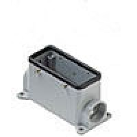 SURFACE MOUNTING BASE - 16P+Ground  16A MAX - 600V  FOUR PEGS  DOUBLE PORT  PG 21 (ILME CHP16CS2-1)