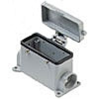 SURFACE MOUNTING BASE - 16P+Ground  16A MAX - 600V  FOUR PEGS & COVER  DOUBLE PORT  PG 21 (ILME CHP16CS2)