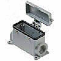 SURFACE MOUNTING BASE - 16P+Ground  16A MAX - 600V  FOUR PEGS & COVER  DOUBLE PORT  HIGH CONSTRUCTION  PG 29 (ILME CAP16CS229)