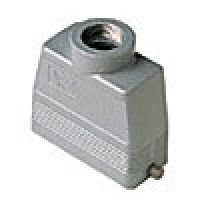 """HOOD - 16P+Ground  16A MAX - 600V  TWO PEGS  TOP ENTRY  HIGH CONSTRUCTION  CABLE GLAND NPT 1.25"""""""