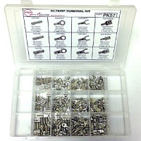 PK 57 is a Hi-Temperature Crimp Terminal Assortment Kit that includes 12 popular high temp terminals including rings, butt splices and disconnects.