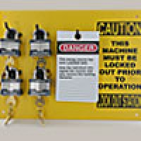 """9""""x12"""" STATION, 4 BLUE BUMBER PADLOCKS, 25 """"DO NOT OPERATE TAGS"""" TO EQUIP INDIVIDUAL MACHINES"""