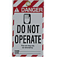 """WARNING TAGS """"DANGER - DO NOT OPERATE"""" BACK- """"UNAUTHORIZED REMOVAL OF THIS LOCK/TAG MAY RESULT IN IMMEDIATE DISCHARGE."""