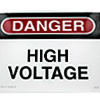 """POLYCARBONATE SAFETY SIGN """"DANGER - HIGH VOLTAGE AUTHORIZED PERSONNEL ONLY"""" (10""""x14"""")"""