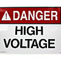 """ACRYLIC ADHESIVE SAFETY SIGN """"DANGER - HIGH VOLTAGE"""" (8""""x18"""")"""
