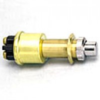 """SPST, NORMALLY OFF, 35A@12V, 2 BRASS SCREWS, MOUNTING STEM: BRASS 5/8""""-32 THREAD, BRASS CASE, SILVER CONTACTS"""